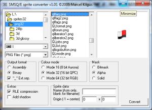 Screen dump of PNGconv program for Windows