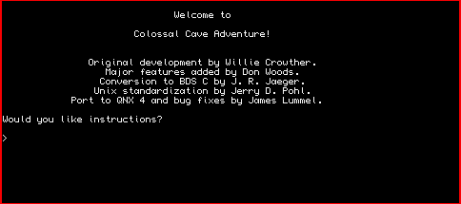 Screen dump from Sinclair QL port of Colossal Cave