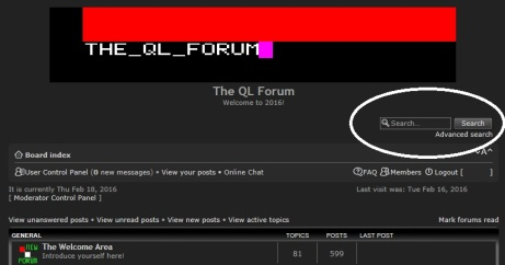 The Search window (circled) on QL Forum home screen