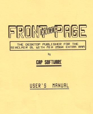 Picture of Front Page Extra manual cover